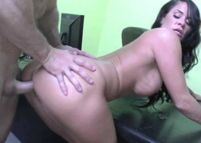 Busty Savannah gets nailed on a desk